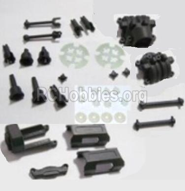 HaiBoXing HBX 2118 Motor Seat & Battery Cover & Dogbones & Diff. Small Bevel Gears & Wheel Shafts & Outdrive Cups 25004R