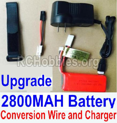 HBX 12891 Dune Thunder Car Parts-Upgrade 7.4V 2800MAH Battery & Charger & Conversion wire & Magic straps Parts