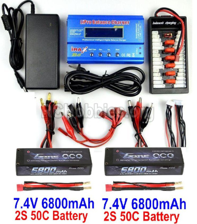 HBX T6 Buggy Parts-Battery Charger Parts Parts-2pcs 7.4V 6800mah battery & Upgrade Charger unit Parts TS008