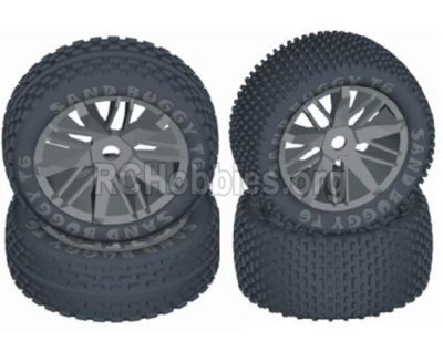 HBX T6 1/6 RC Desert Buggy Parts-Front And Rear Wheels Complete,Wheels Assembly(4 Set) Parts TS058+TS059