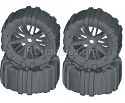 HBX T6 Buggy Parts-Front and Rear Concept Sand Wheels Complete(4 set) Parts TS061-02